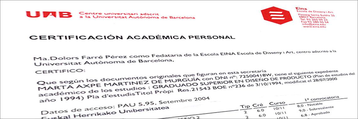 Expediente académico con certificado de notas expedido en Castellano por una universidad de Barcelona