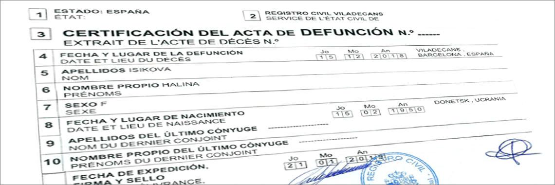Certificación de un Acta de Defunción en Español, emitida por el Registro Civil de Viladecans (Barcelona).