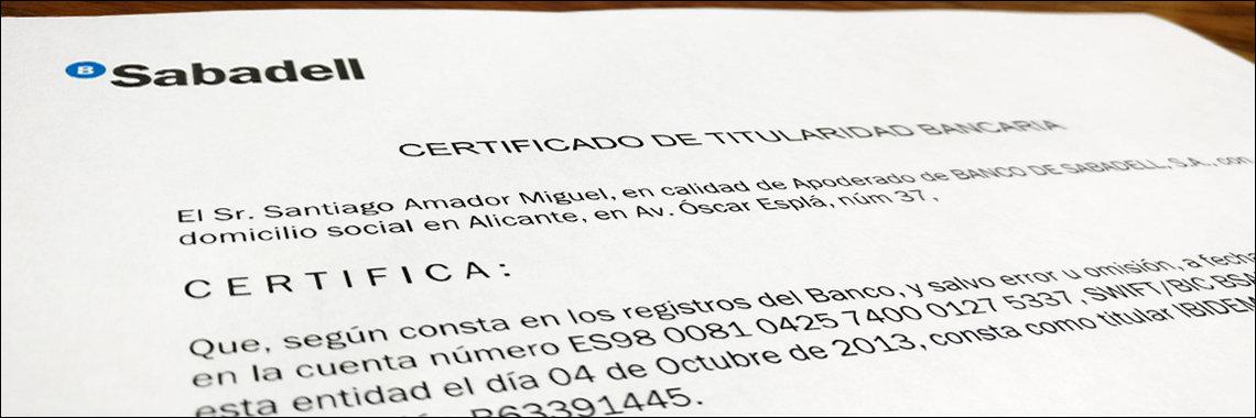 Certificado bancario de titularidad de cuenta de una empresa española