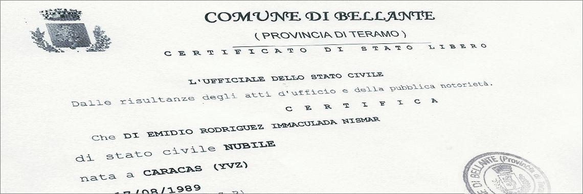 Certificado de solteria (Stato Libero) de un ciudadano italiano