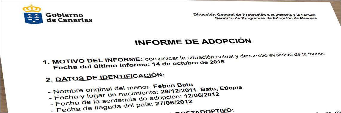 Informe de adopcion de un menor, antes de su traduccion jurada