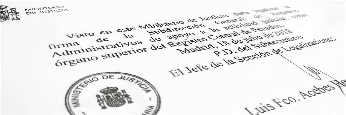 Sello con legalización de firma del Ministerio
