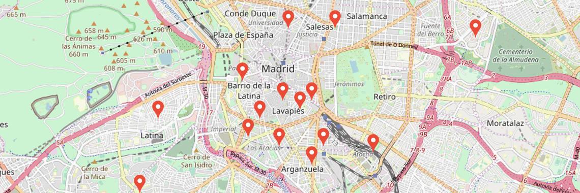Mapa de Madrid. Traductores Jurados ubicados en Madrid