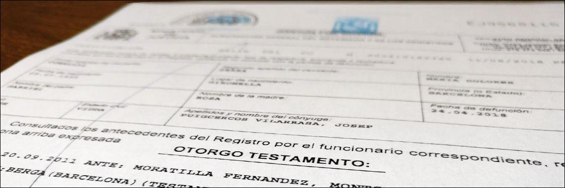 Certificado de Últimas Voluntades. Testamento sellado por un notario e inscrito en el Registro de Actos de Ultima Voluntad. Traduccion Jurada.