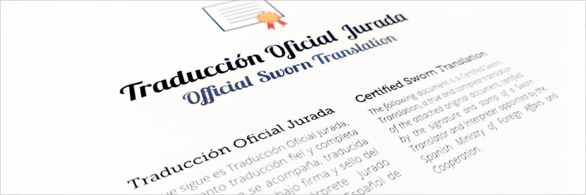 Portada de una Traducción Jurada de un documento o certificado oficial